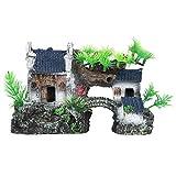 SALUTUYA Decoración de pecera, Resina de Acuario, Modelado arquitectónico Chino Antiguo con Cuevas realistas, Accesorios para el hogar para decoración de acuarios