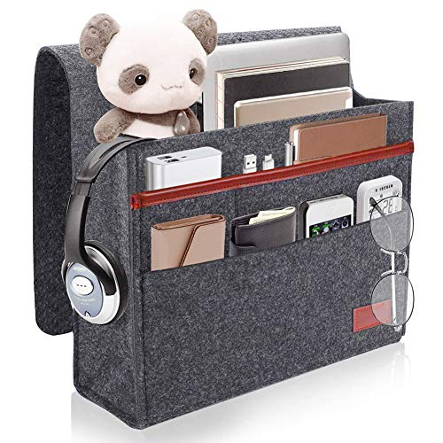 ionlyou Bedside Storage Pocket,Felt Bedside Hanging Storage Organizer Caddy with Anti-Slip Velcro for Sorting Magazine, Tablet, ipad,Phone, Earphone, Remote, Glasses, Pen