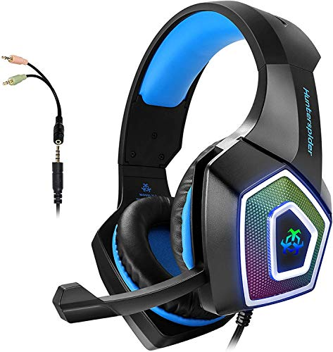 ARKARTECH Audífonos Gamer con Micrófono para PS4 Xbox One PC Switch, Auriculares Alámbrico y 7 Luz LED Control de Volumen, Gaming Headset con 3.5mm Conector para Juegos,...