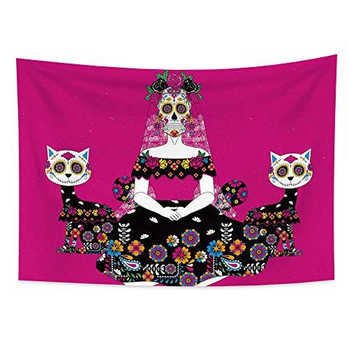 Tapiz tapiz decoración de la habitación calavera novia en flores Luna Mandala alfombra gato manta colgante de pared 150x200cm