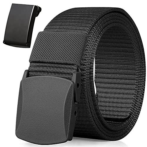 Boneke Cinturón de nylon, cinturón militar transpirable táctico para hombres, rápido a través de la seguridad del aeropuerto Metal, hebilla de plástico + hebilla de metal