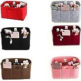 Tidy Beauty Purse Insert Organizer,Felt Tote Bag Inner Bag ,Wallet storage bag with built-in zipper pocket , Multi-pocket travel makeup storage bag (red, M)