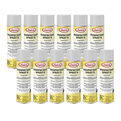 Claire Claire Cl1002-12pk Disinfectant Spray Q- Lemon Scent; 17 Oz. Net Wt, 12 Pack, 12 Count
