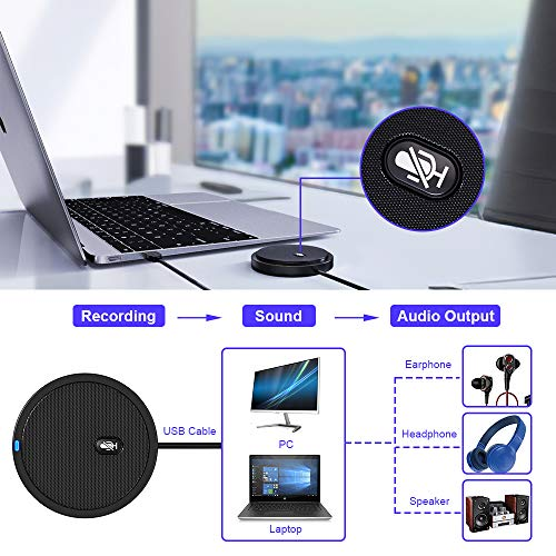 Ankuka USB Konferenzmikrofon mit Stummschaltung Plug & Play, 360° Omnidirektionale Kondensator PC Mikrofone Kompatibel mit Mac OS X Windows für Videokonferenzen, Gaming, Chatten, Skype