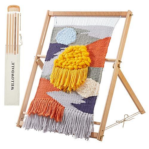 初心者向け 木製調整可能 卓上手織り機 子ども 大人兼用 手芸用品 織機ミシンウィービングフレームセット 多機能編みキット DIY 編み機 操作簡単 子供用知的おもちゃ