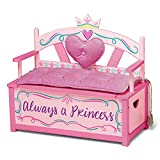 Wildkin Kids Princess Wooden Bench Seat With Storage, Toy Box Bench Seat Features Safety Hinge, Padded Backrest, Seat Cushion, and Two Carrying Handles, Measures 32 x 15.5 x 27.5 Inches (Pink)