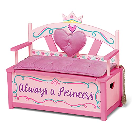 Wildkin Kids Princess Wooden Bench Seat...