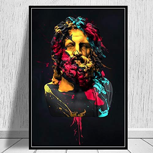 NSRJDSYT Griechische Mythologie Aquarell Zeus Skulptur Ölgemälde auf Leinwand Wandkunst Poster und druckt Bild für...