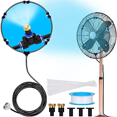 Signice Fan Misting Kit - Upgraded Adjustable 26FT Fan Misters for Cooling Outdoor with 5 Mist Nozzles DIY Water Mister Fans for Outside Patio Backyard