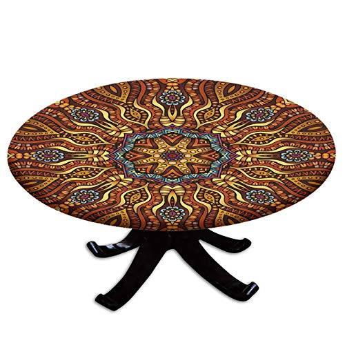 Elastic Edged Polyester Fitted Table Cover,Ethnic Mosaic Like Kaleidoscope Design with Floral Swirls Image Decorative,Fits up 40'-44' Diameter Tables,The Ultimate Protection for Your Table,Brown Blue