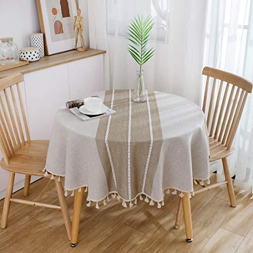 Xlabor Mantel redondo de algodón y lino, de fácil cuidado, para jardín, habitación, decoración de mesa, café, diámetro de 150 cm