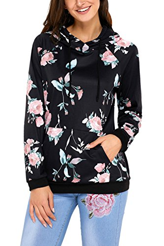 Leindr Women's Hoodies Tops Floral Printed Active Top Long Sleeve Pocket Drawstring Pullover Sweatshirt With Kangaroo Pocket Black XXL 18 20