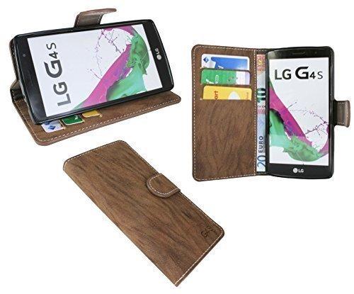 ENERGMiX Buchtasche kompatibel mit LG G4s (H735) Hülle Case Tasche Wallet BookStyle mit Standfunktion in Braun