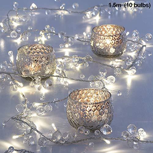 LED Lichterkette dekorativ ABS Juwelen Perlen Girlande Warmweiß 10 LED Lichter Bohemian Elegant Lichterkette für Zuhause Wohnzimmer Schlafzimmer Terrasse Party