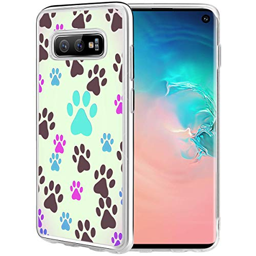 Dog Case Compatible for Galaxy S10E,Ecute Clear Soft Slim Style Hard Back Case Cover for Samsung Galaxy S10E 2019- Dog Paw Prints Pet Lovers