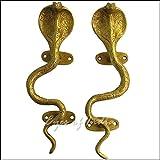 EYES OF INDIA - 9' Pair Gold Brass Snake Cobra Cabinet Handles Door Pulls Antique Bronze Indian Bohemian Accent Boho Chic Handmade