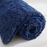 COSY HOMEER - Alfombra de baño hecha de poliéster 100% extra suave y antideslizante, especializada en alfombras de ducha lavables a máquina y absorbentes el agua (Navy, 100 x 60 cm)