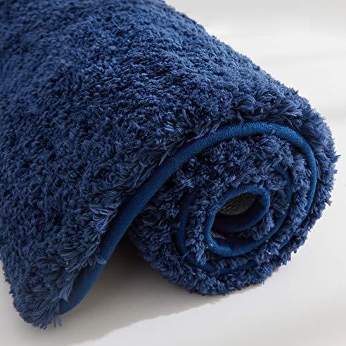 COSY HOMEER Alfombrilla de baño de 100% poliéster, extra suave y antideslizante, especializada en lavable a máquina y absorbente de agua (100 x 60 cm, azul marino)