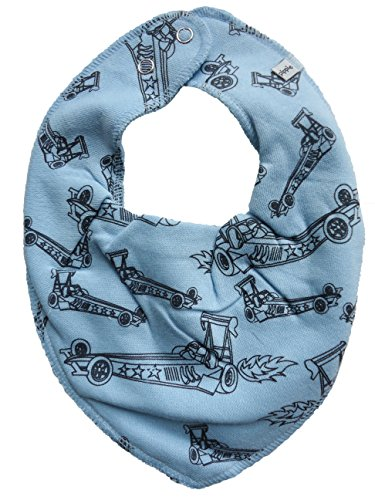 Pippi ♥ Bandana triangulaire pour enfant Bleu clair avec chariot de course
