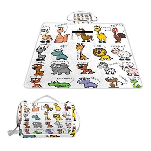 GEEVOSUN Couverture de Pique-Nique,Big Set Cartoon Animals,Tapis Idéale pour Plage Jardin Parc Camping,145 * 150cm
