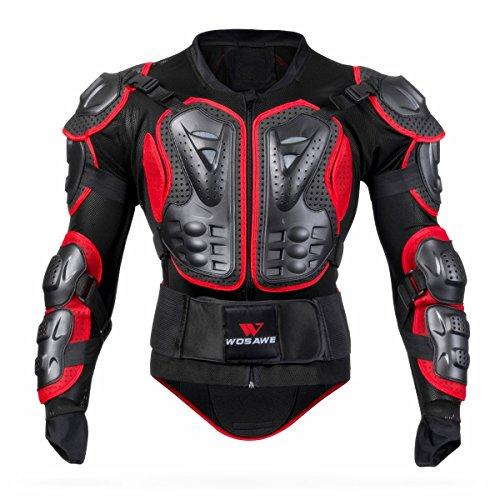 WOSAWE BMX Body Armor Mountain Bike Protezione Del Corpo Manica Lunga Giacca Moto Corazzata, Rosso Medio