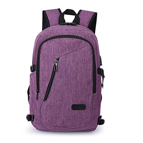 Anti-Diebstahl-Rucksack, 35L Daypack Rucksack mit USB-Ladeanschluss Kopfhörer-Schnittstelle und Passwort-Sperre, täglich wasserdichter Rucksack, Laptop-Rucksack für 12-16 Zoll Laptop (Lila)