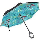 Símbolos matemáticos Paraguas invertido Doble Capa Paraguas inverso a Prueba de Viento