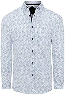 Tarocash Men's George Slim Stretch Print Shirt Slim Fit Long Sleeve Sizes XS-5XL for Going Out Smart Occasionwear