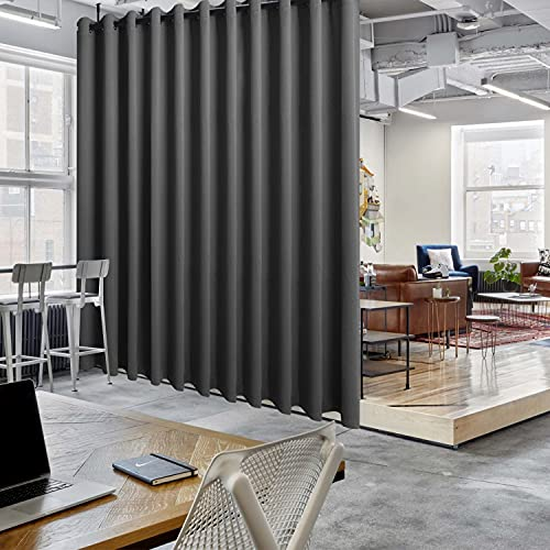 Hiasan Privacy Room Divider Curtain - Extra Wide Energy Saving Sliding Door Curtain, Blackout Curtains for Patio Door Hallway Office Apartment Home Theater Doorway, 20 ft Wide x 8 ft Tall