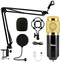 RAGU Condenser Microphone Bundle, 8-in-1 Cardioid Condenser Microphone Kit for Studio Recording and Brocasting