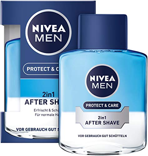 Nivea Men Protect und Care 2-in-1 After Shave im Aftershave pflegt die Haut nach der Rasur, beruhigende und erfischende Gesichtspflege, 100 ml