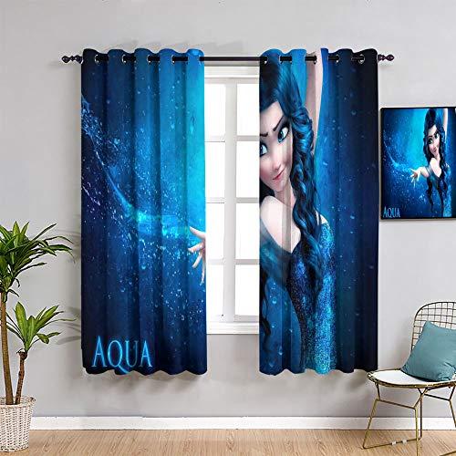 Sdustin Fro-zen elsa - Cortinas opacas, 213 x 160 cm, cortinas opacas para ventana de dormitorio
