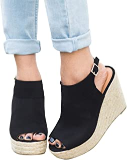 Womens Espadrille Platform Wedge Heel Peep Toe Ankle Strap Slingback Suede Sandals
