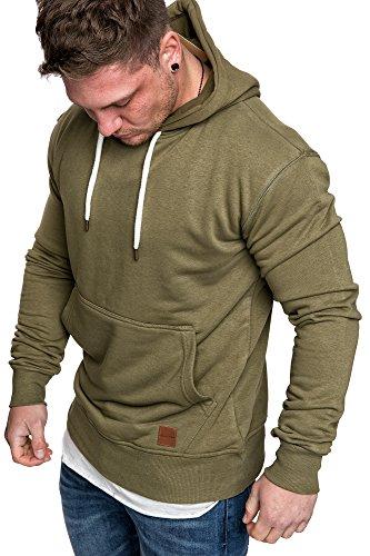 Amaci&Sons Herren Basic Kapuzenpullover Sweatjacke Pullover Hoodie Sweatshirt 4023 Khaki XL