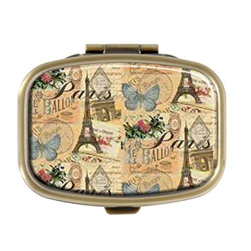 Cecillia French Paris Vintage Collage France Europe Travel Pill Box Decorative Boxes Bronze Rectangular Pill Case Medicine Tablet Holder Wallet Organizer Case for Pocket or Purse