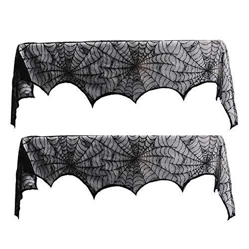 BJ-SHOP spinnenwebsjaal, Halloween open haard sjaal 2 pak Halloween spin vleermuizen open haard fornuis servet doek fornuis gordijn