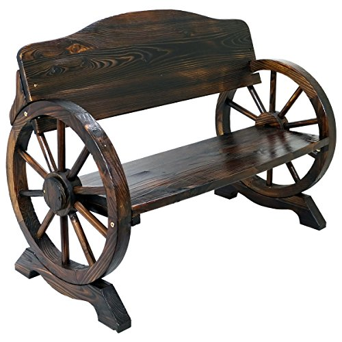 Solid Wood Cart Wagon Wheel Garden Bench Patio Burnt Stained Outdoor...