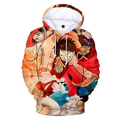 BAIMM Sudadera con Capucha Y Estampado Digital 3D Anime One Piece Sudadera con Bolsillo Camisa Deportiva Unisex-C_L