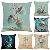 WAZA Set de 6PCS Funda de Cojín Suave Funda de Almohada Cuadrado Throw Pillow Case Decoración para Sofá Cama Hogar Coche Estilo Clásico Simple 45x45cm (Azul)