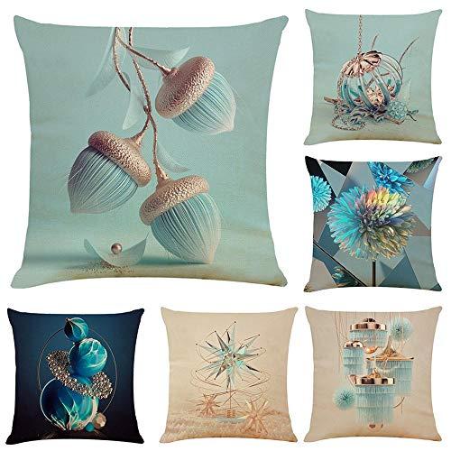 WAZA Set de 6PCS Funda de Cojín Suave Funda de Almohada Cuadrado Throw Pillow Case Decoración para Sofá Cama Hogar Coche Estilo Clásico Simple 45x45cm (Azul)