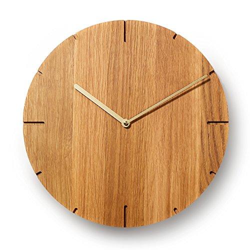 Natuhr Wanduhr Eiche geölt Holz Solide Massivholz, geräuscharmes Junghans Uhrwerk, puristisch, modern, Made in Germany (Goldene Zeiger)