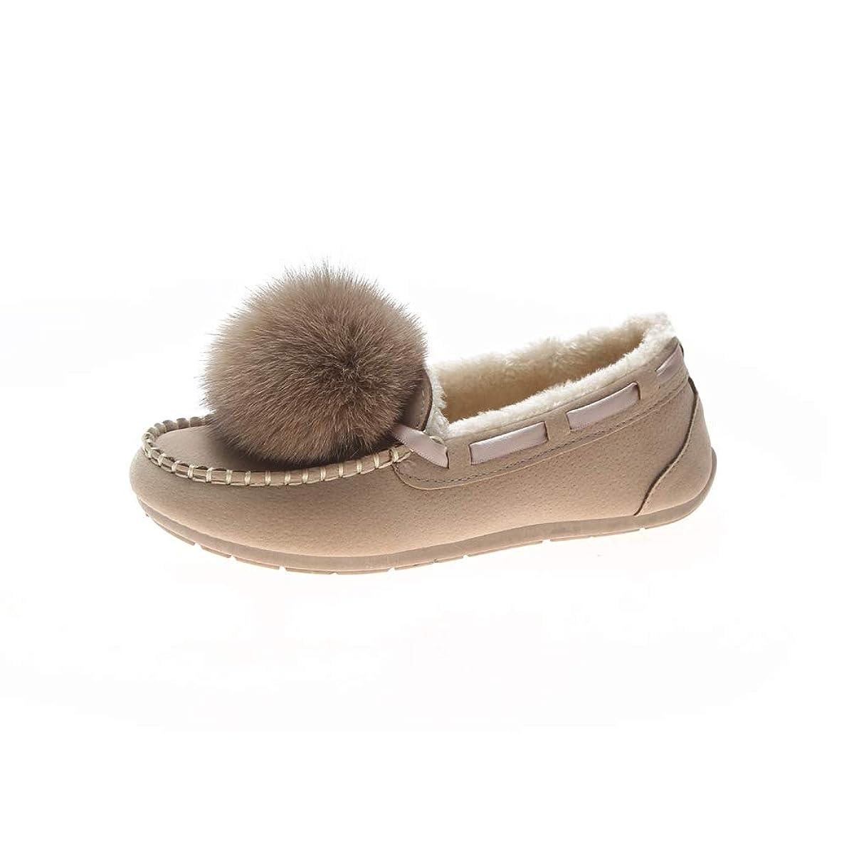 タンパク質地球社会[モリケイ] モカシン フラットシューズ ブーツ 靴 レディース ポンポン ファーモカシン フォーローファー 防寒 ボア スエード カジュアルシューズ 冬 ブラック ベージュ ブラウン ラウンドトゥ 滑り止め