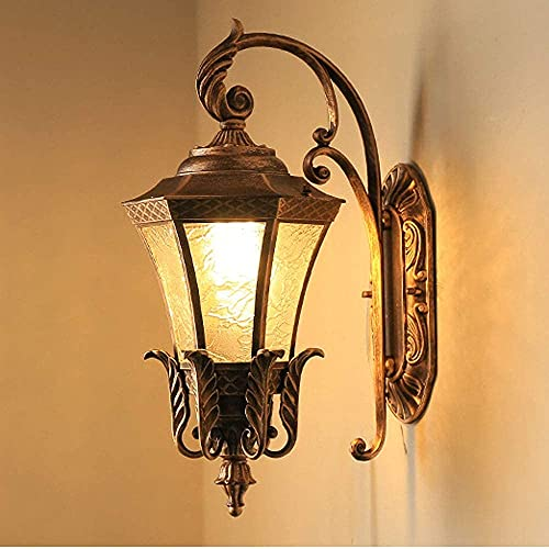 Luces Solares Para Jardín Lámpara De Pared Led Para Exteriores Aplique De Pared Aplique De Pared Linterna Exterior Patrón De Agua Vidrio Cilindro Impermeable Lámpara De Pared De Luz De Porch
