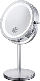 Lighted Magnifying Mirrors - 1x / 10x Magnification Eye Make up Magnifying Mirror With Light - Touch Screen Adjustable LED...