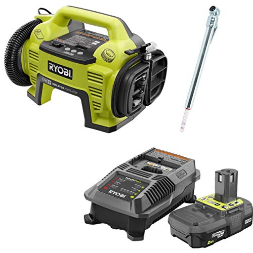 Ryobi P731 One+ 18v Dual Function Power Inflator/Deflator with Charger, P163 Lithium-ion 2.00Ah battery and Pittsburgh Automotive Pencil Tire Gauge (Bundle) (Renewed)