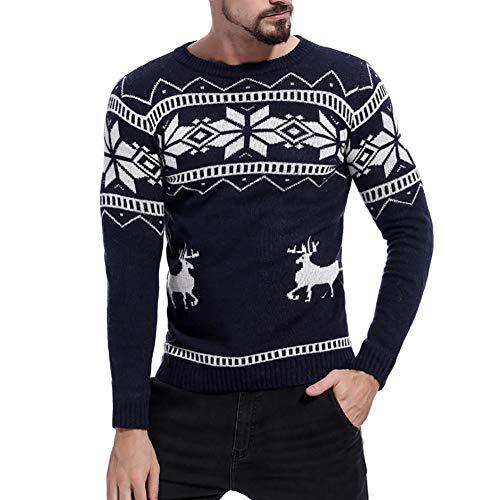 DEBAIJIA Hombres Suéter Niño Jersey de Navidad Punto Grueso Invierno Cachemira Manga Larga Navidad Cuello Redondo Cálido Cómodo Moda Caricatura Patrón Transpirable Suave para La Piel Adecuado Adultos