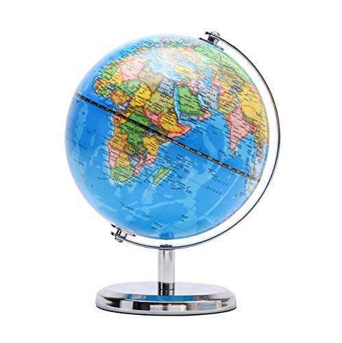 Exerz 14CM Globo Terraqueo - en Ingles - Decoracion de escritorio educativa/geografica/moderna - Con una base de metal (Azul Politico)