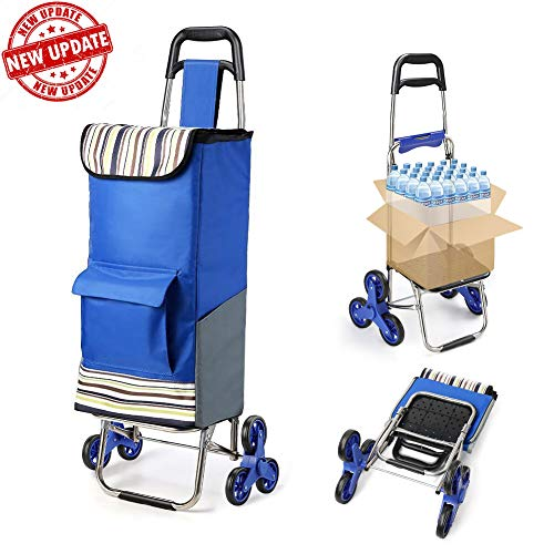 Folding Shopping Cart Extended Handle Stair Climbing Cart with Quiet Rubber Tri-Wheels Grocery...