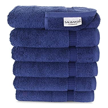SALBAKOS Luxury Hotel & Spa Turkish Cotton 6-Piece Eco-Friendly Hand Towel Set 16 x 30 Inch, Navy