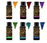 Diamine Fountain Pen Ink 30ml - Colour Wheel - 6 x Bottles - Amber, Oxblood, Imperial Purple, Aurora Borealis, Oxford Blue, Meadow